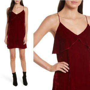 ALICE + OLIVIA Bess Velvet Ruffle Mini Slip Dress